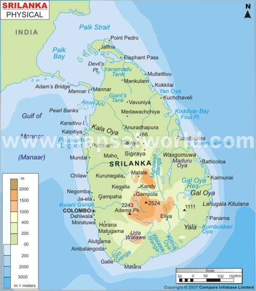 Srilanka-physical-map